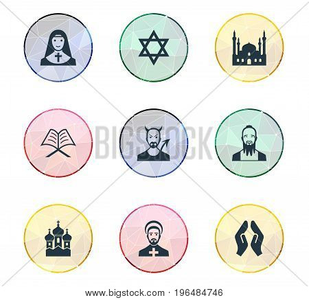 Elements Muslim, Devil, Taoism And Other Synonyms Holy, Chaplain And Devil. Vector Illustration Set Of Simple Religion Icons.