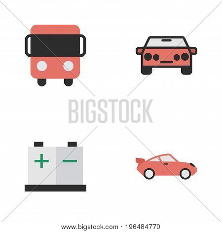 Elements Coupe, Autobus, Accumulator And Other Synonyms Coupe, Bus And Charge. Vector Illustration Set Of Simple Shipping Icons.