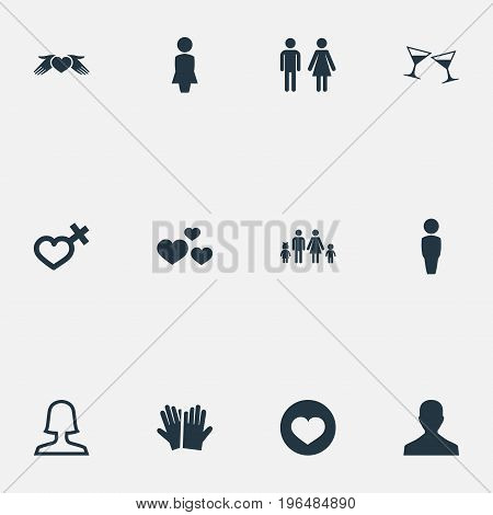 Vector Illustration Set Of Simple Couple Icons. Elements Amour, Female Partner, Celebration And Other Synonyms Woman, Family And Care.