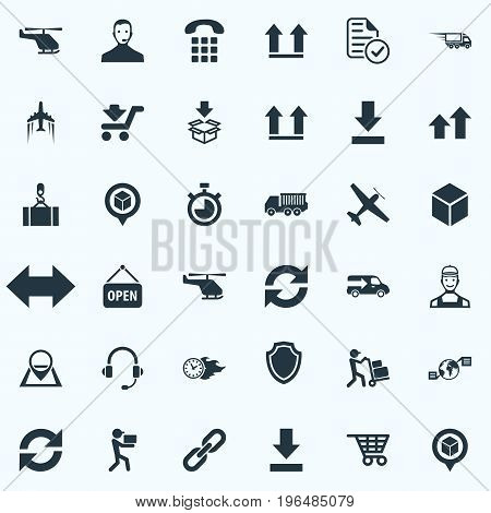 Vector Illustration Set Of Simple Engineering Icons. Elements Bottom Side, Courier, Consultant And Other Synonyms Map, Point And Download.