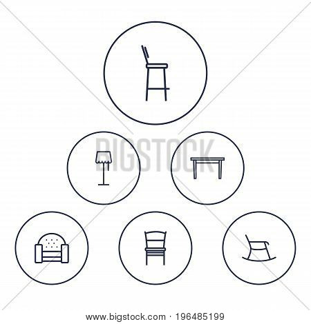 Collection Of Bar Stool, Moving Chair, Chair And Other Elements. Set Of 6 Situation Outline Icons Set.