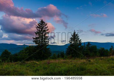 Ukrainian Carpathian Mountains Landscape During The Sunset