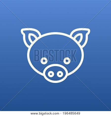 Vector Pig Element In Trendy Style. Isolated Swine Outline Symbol On Clean Background.