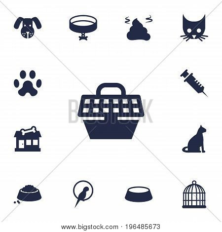 Collection Of Sitting, Pet Crate, Neckband Elements. Set Of 13 Pets Icons Set.