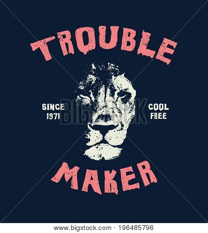 Lion head. Hand drawn Illustration with typo for t shirt and other uses. Vector illustration.