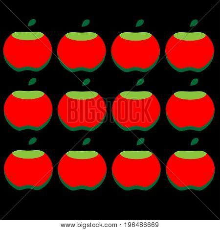 Pattern of red apples on a black background