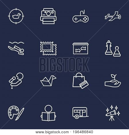 Collection Of Painting, Chess, Gardening And Other Elements. Set Of 16 Hobbie Outline Icons Set.