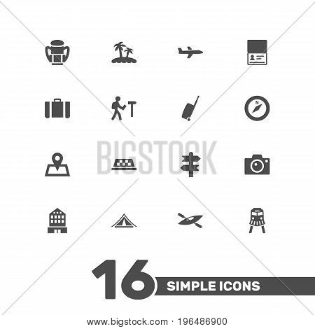 Collection Of Rucksack, Baggage, Canoe And Other Elements. Set Of 16 Relax Icons Set.