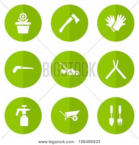 Set Of 9 Farm Icons Set. Collection Of Scissors, Tools, Wheelbarrow And Other Elements.