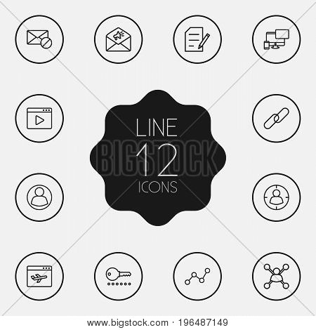 Set Of 12 Engine Outline Icons Set. Collection Of Landing Page, Password, Advertising Elements.