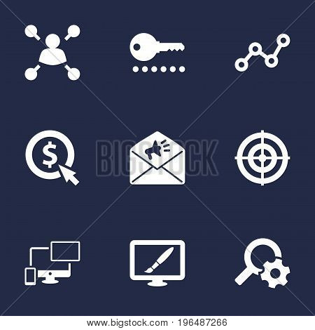Collection Of Announcement, Sale, Click And Other Elements. Set Of 9 Search Icons Set.