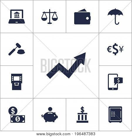 Collection Of Online Banking, Piggy Bank, Umbrella And Other Elements. Set Of 13 Budget Icons Set.