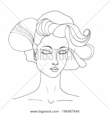 Vector portrait of the beautiful young girl. Black silhouette on white background. Zentagle. Can be used as adult coloring book, coloring page.