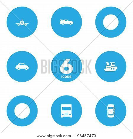 Collection Of Aircraft, Side View, Boat And Other Elements. Set Of 6 Shipping Icons Set.
