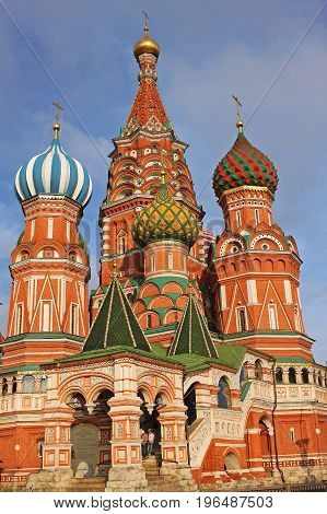 Moscow Russia - 14 July 2017: Cathedral of Vasily the Blessed commonly known as Saint Basil's Cathedral is a church in the Red Square. Built in 1555-1561 under orders from Ivan the terrible