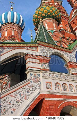 Moscow Russia - 14 July 2017: Cathedral of Vasily the Blessed commonly known as Saint Basil's Cathedral is a church in the Red Square in Moscow. Was built in 1555-1561 under orders from Ivan the terrible