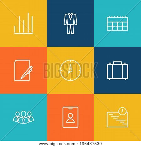 Collection Of Clock, Badge, Team And Other Elements. Set Of 9 Management Outline Icons Set.
