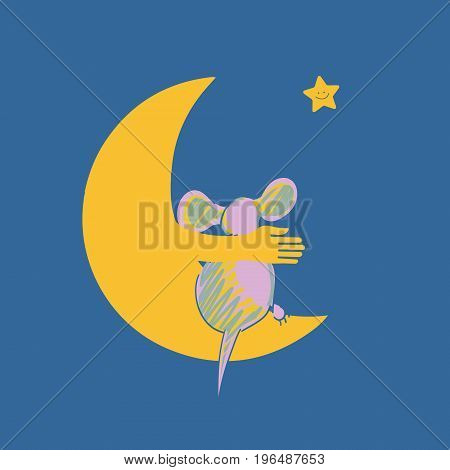 Mouse and moon, vector illustration for handmade. Vector illustration with the image of the mouse and the moon.
