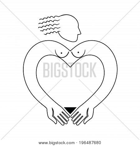 Vector icon with a stylized image of a naked woman. Original vector illustration with a wide range of applications