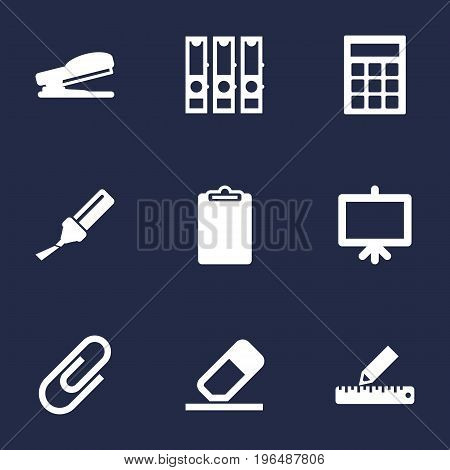Collection Of Clip, Calculate, Rubber And Other Elements. Set Of 9 Tools Icons Set.
