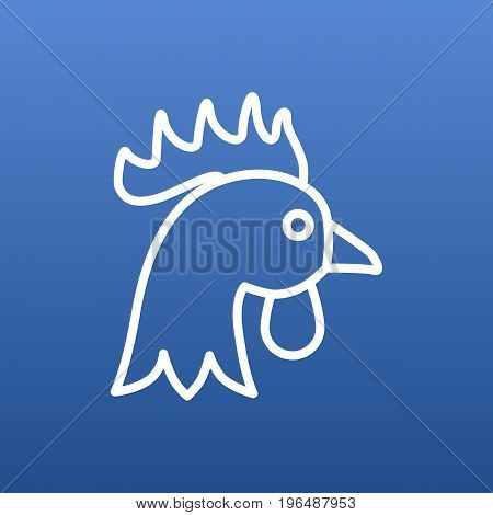 Isolated Rooster Outline Symbol On Clean Background. Vector Cock Element In Trendy Style.