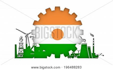Energy and Power icons set with flag of the Niger. Sustainable energy generation and heavy industry. 3D rendering.