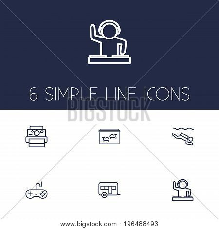Set Of 6 Hobbie Outline Icons Set. Collection Of Video Game, Dj, Diving And Other Elements.