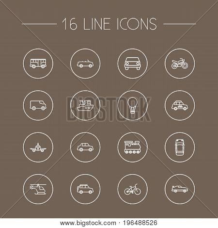 Collection Of Top, Car, Cabriolet And Other Elements. Set Of 16 Traffic Outline Icons Set.