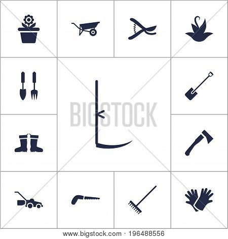 Collection Of Latex, Rubber Boots, Axe And Other Elements. Set Of 13 Horticulture Icons Set.