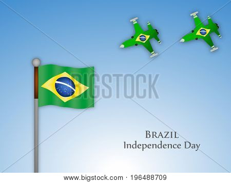 illustration of Brazil flag and aircrafts with Brazil Independence Day text on the occasion of Brazil Independence Day