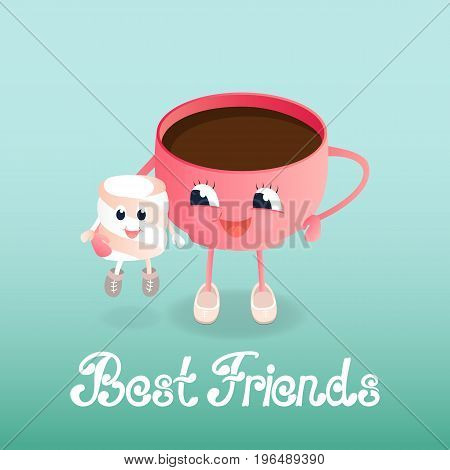 A funny cup of coffee holds a marshmallow cartoon. Greeting card to the Day of Friendship. Best friends hand lettering