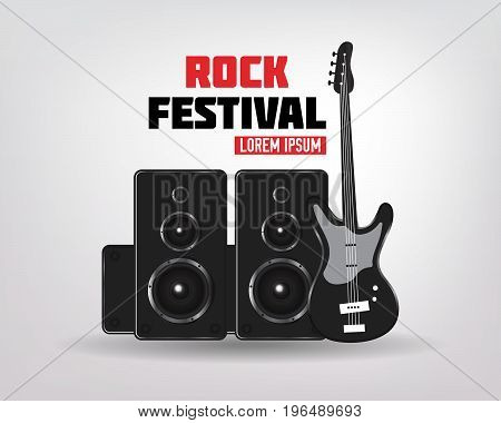Rock music background with guitar and speakers Rock concert vector illustration..