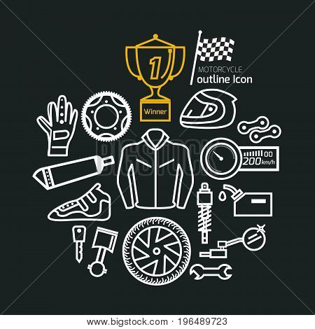 motorcycle part and item set and Trophy Cup