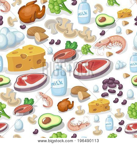 seamless pattern dairy products, vegetables, meat products, nuts, chicken, cheese and milk
