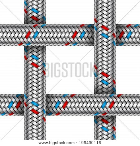 Vector seamless pattern of intersected water braided metal hose