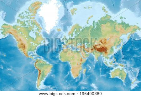 World physical vector map stylized using hexagons. Colored according to relief
