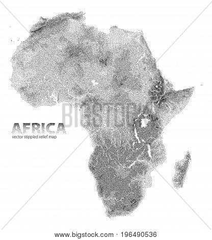 Vector stippled relief map of African continent