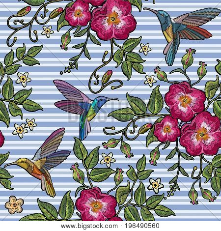 Embroidery humming bird and wild roses dogrose flowers in blue stripes. Classic style embroidery beautiful fashion template for clothes t-shirt design vector