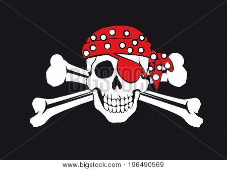 skull and crossbones on a black background Pirate symbol Jolly Roger in a red bandana