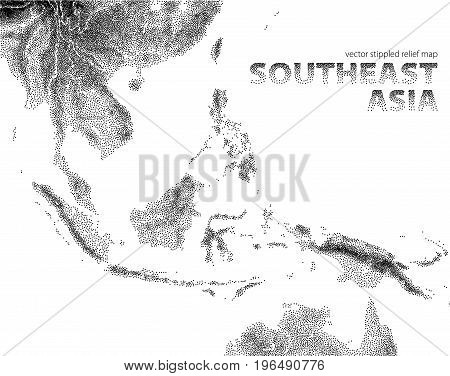 Vector stippled relief map of Southeast Asia