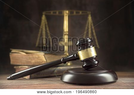 Judge Gavel, Old Books And Scales On A Wooden Table, Justice Symbols For Balance And Power In Law An
