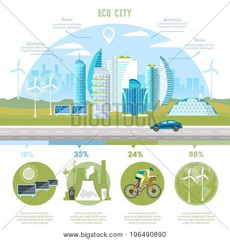 Green city infographic. Future energy solar panels windmills. Harmony of city and nature design template. Eco city background urban landscape