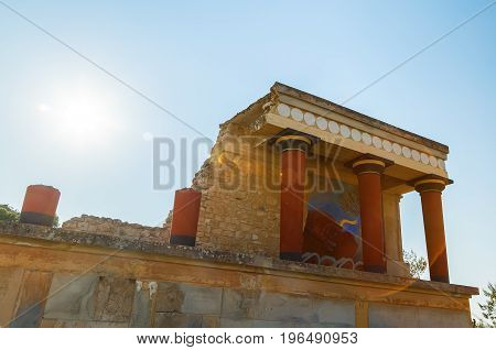 Knossos Palace ruin in sunny day backlight, Greece, Crete