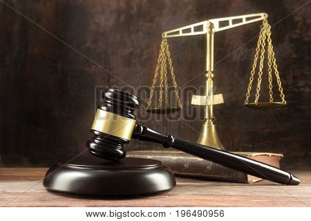 Judge Gavel, Book And Scales On The Wooden Lawyers Desk, Justice Symbols For Social Balance In Law A