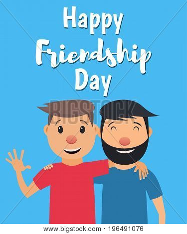 Happy Friendship Day. Two friends hugging and smiling. Vector illustration in flat style