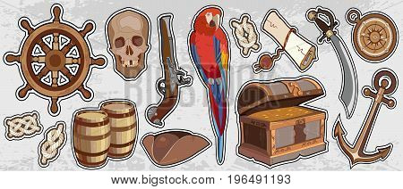 Pirate vintage elemets. Adventure stories background. Treasure chest parrot steering wheel skull rum saber pirate hat pirate stickers
