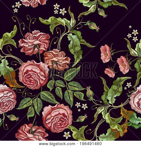 Roses embroidery seamless pattern. Fashionable template for design of clothes t-shirt design tapestry flowers renaissance style vector. Classical embroidery vintage buds of roses on black background
