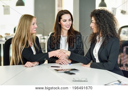 Three businesswomen shaking hands in a modern office with white furniture. Teamwork concept. Caucasian blonde and muslim girls wearing suit. Multi-ethnic group of women