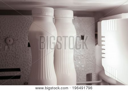 Drinking Yogurt Without Label In The Refrigerator