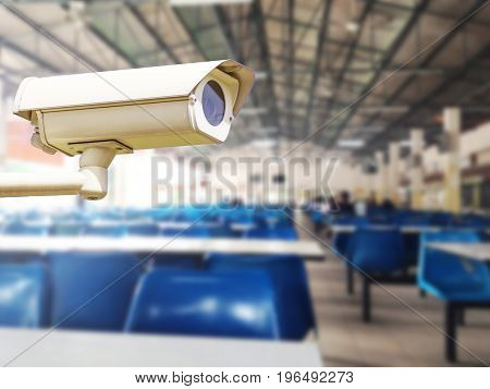 CCTV Camera Record on blur background of people in the Canteen, concept of security and safety.